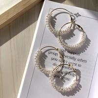 【Hand-made】Mini pearl wrapped hoop pierces / earrings #201