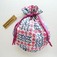リバティキャンディ巾着・スリーピングローズ・ローズピンクネイビー(お客様レビューあり)