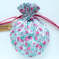 リバティキャンディ巾着・いちご・ピンク