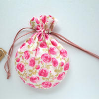 リバティキャンディ巾着・ローズマリー・ピンク