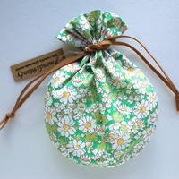 リバティキャンディ巾着・アリス(小花)・グリーン
