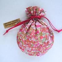リバティキャンディ巾着・ジェニーズリボンズ・ピンクグリーン