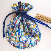 キャンディ巾着・リバティ・ビーチハッツ・ブルー(お客様レビューあり)
