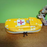 ひょっこりエピペン用ポーチ1本両開きタイプ黄色リボンラミネート生地【No.191004A】