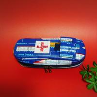 ひょっこりエピペン用ポーチ・1本両開きタイプ新幹線柄ブルーラミネート【No.190802D】