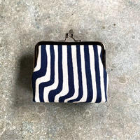 Indigo Gamaguchi (coin purse) -Modern Stripes-