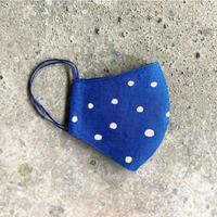 Indigo Dyed Tenugui Mask - Tenuma - Light Polka Dots