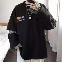 【ビックサイズ】袖カットチェックレイヤートレーナー【LA00792】