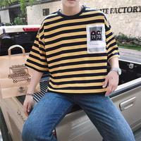 【HOT】カラーボーダーポケットTシャツ