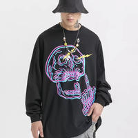 MONEYスカルデザインロングTシャツ【MM00566】
