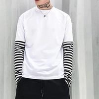[大人気]ユニセックスレイヤーボーダー長袖Tシャツ 2カラー