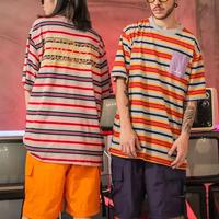 【売れ筋】OMEデザインボーダービックサイズTシャツ 2カラー