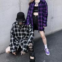 オーバーサイズチェックストリート風シャツ【LA00349】