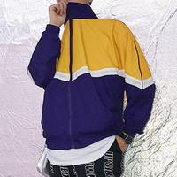 【トレンド】カラーバイカラーデザインジャケット 2カラー