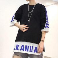 [売れ筋]A.Kデザインロング丈Tシャツ 2カラー