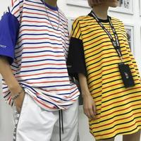 [STREET]カラーボーダー7部丈Tシャツ 2カラー