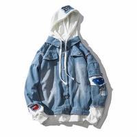 [春服]レイヤーフーディ風デニムジャケット 2カラー