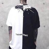 [トレンド]ハーフカラーブラックホワイトTシャツ