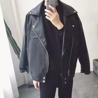 【HOT】ビックレザー風ジャケット【MO01022】