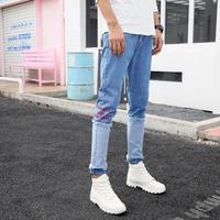 【COOL】バイカラー刺繍デザインデニムパンツ 2カラー