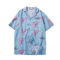 【大人気】ピンクガンデザインシャツ