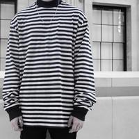 【大人気】ボーダーオーバサイズロングTシャツ