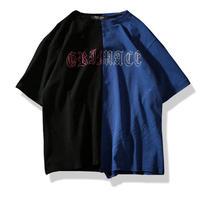 [トレンド]ハーフバイカラースマイルデザインTシャツ