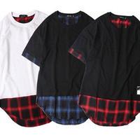 [TREND]チェックデザインロング丈Tシャツ 2カラー