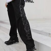 【売れ筋】ダークカラー刺繍デザインラフパンツ 2カラー