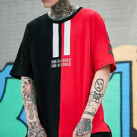 [大人気]llハーフデザインビックサイズTシャツ 2カラー