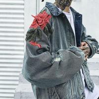 【売り切れ間近】ローズ刺繍デザインデニムジャケット