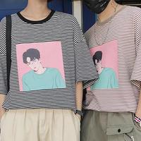 [NEW]韓国風モノクロTシャツ 2カラー