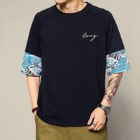[売れ筋]ウェーブデザインTシャツ 4カラー
