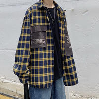 ブラックポケットチェックシャツ【LA00285】