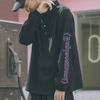 【売れ筋】襟付きデザインロングTシャツ 3カラー