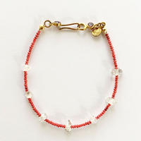 Red coral with herkimer Diamond quarts bracelate