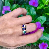 Multi color gems ring / Garnet in center