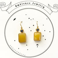 One of a kind / Yellow Amber & Blue sapphire pierce