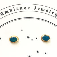 Sun moon simple studs oval Pierce / opal
