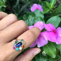 Multi color gems ring / Blue Kynite in center