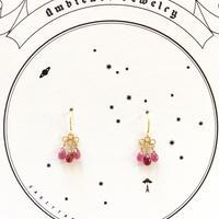 3tear drops  Ruby /18ct gold pierce