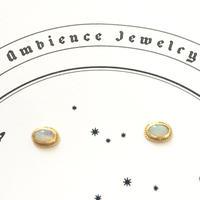 Sun moon simple studs Pierce oval / white opal