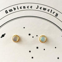 Sun moon simple studs  Pierce / Opal