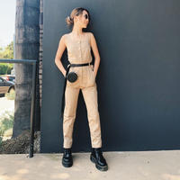military front button overall BEIGE