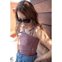 Ribbon one shoulder tops PINK