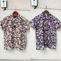 LIFEシーチングバス総柄の開襟半袖シャツ