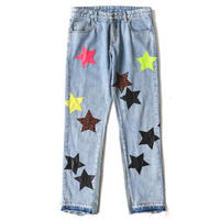 MAISON EMERALD / LEATHER LABEL STAR JEANS