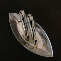 vintage glass pierce (silver/black)