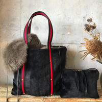 fur tote  bag (black)