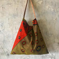african fabric/velour bag (brown)